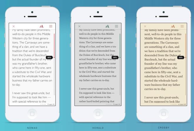 L'app Oyster propose des thèmes précomposés pour le lecteur.